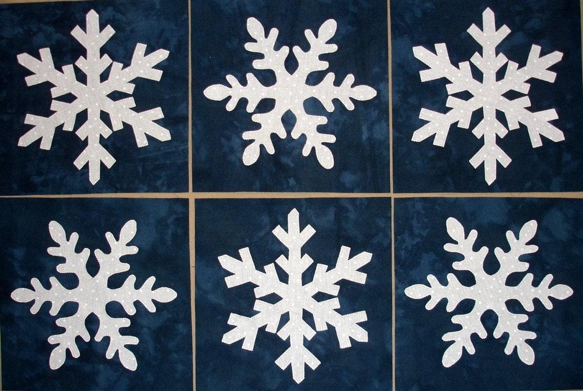 Snowflake Appliqued Quilt Blocks