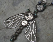 Steampunk moth wire wrapped necklace
