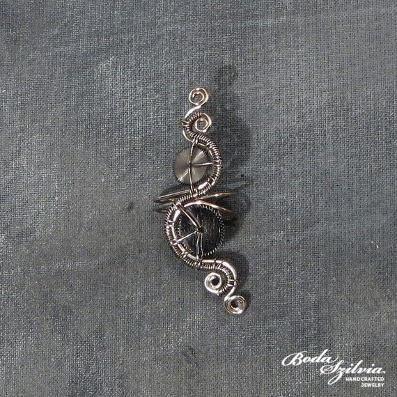 Steampunk silver ear cuff