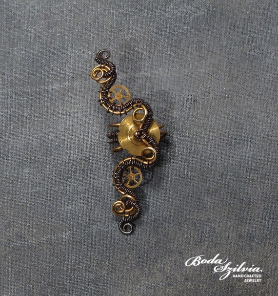 Steampunk brass and copper ear cuff