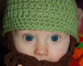 6 to 12 Months Baby Beard Beanie Sage and Brown
