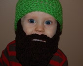 Bright Melon Green Baby Beard Beanie Shown in 6 to 12 Months Size