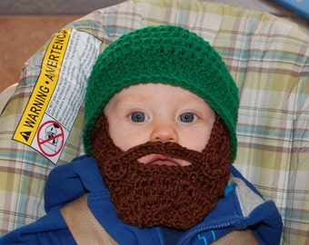 Green and Brown 6 to 12 Months Beard Beanie Can Customize Size