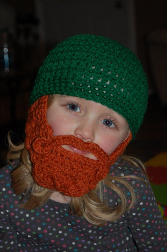 Child Size 2 to 5 Years Old Beard Beanie Shown You Can Customize Size and Colors