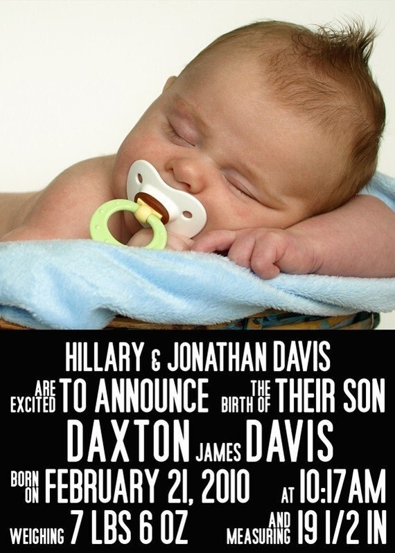 Items similar to Birth Announcement : Movie Poster Baby ...