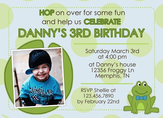 Frog Birthday Invitation - Boy or Girl