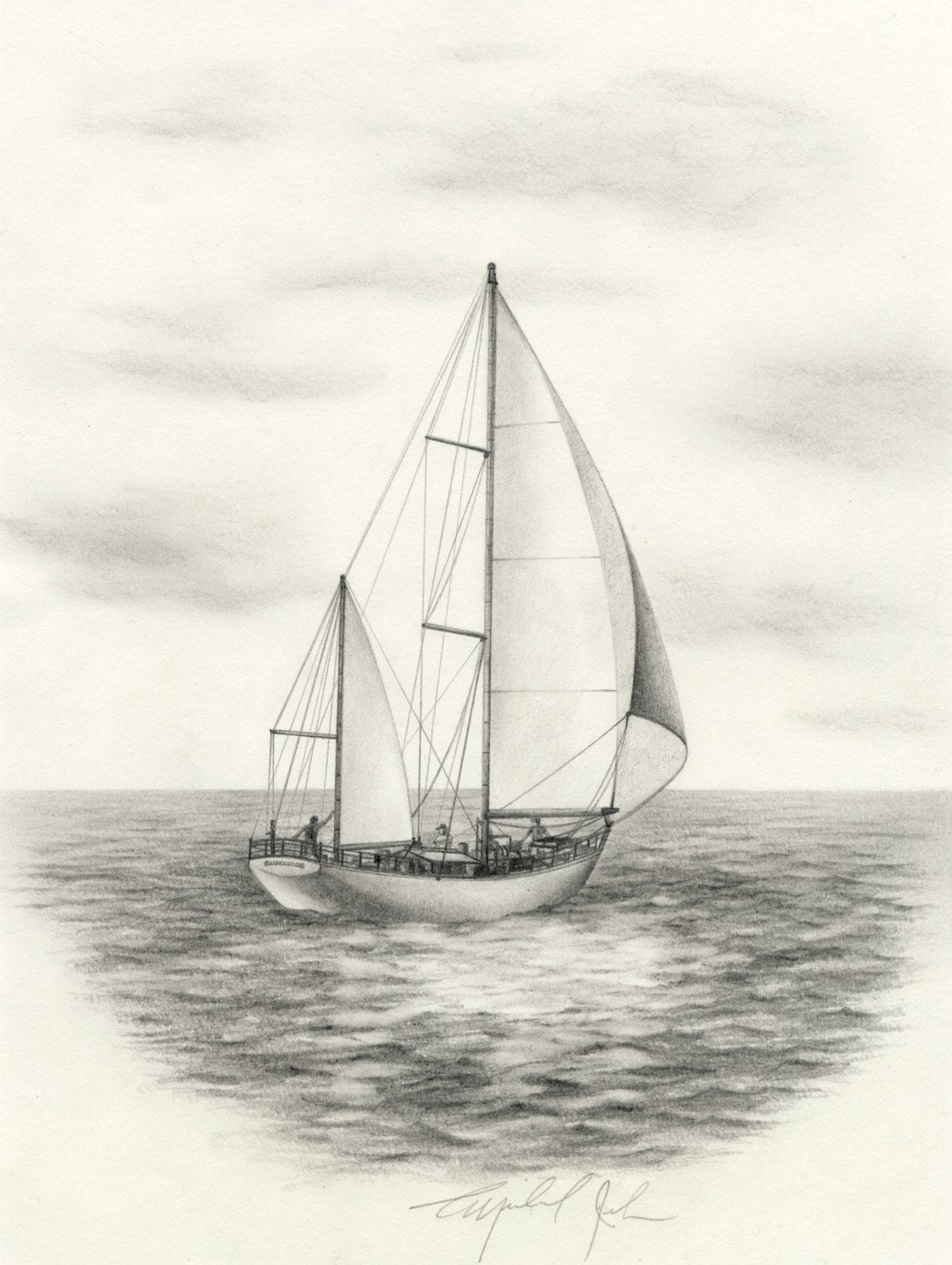 Sailboat original pencil drawing by michaeljehn on Etsy
