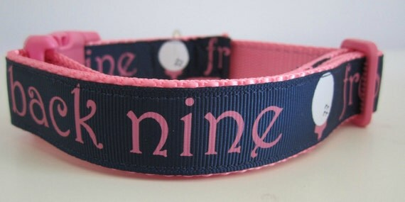 Dog Collar, Golf, 1 inch wide, adjustable, quick release, metal buckle, chain, martingale, hybrid, nylon