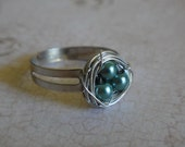Dark Teal Blue Pearl Bird's Nest Ring - amula