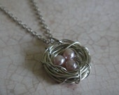 Rose Pink Pearl Bird's Nest Necklace