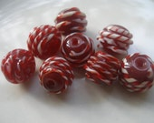 8 Pcs Burdungy and White inlaid 13x12 mm Round  Lampwork Glass Beads...Jewelry Making Beads