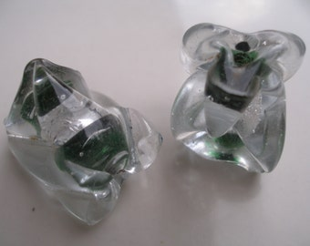 2 PCS green  and white   Different shaped Glass Lampwork Beads...Jewelry Making Beads