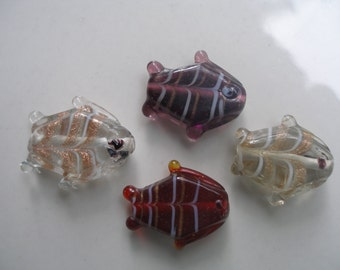 4 Pcs White and Dark Brown  Tube Shape 20x25 mm Fish  Lampwork Glass Beads...Beads For Jewelry