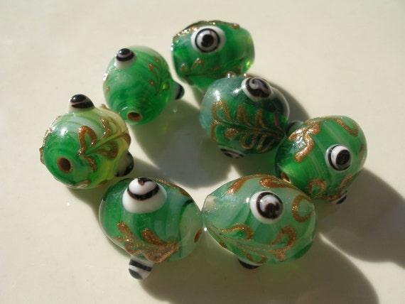 5 Pcs green  14x16mm Oval Lampwork Glass Beads...Jewelry Making Beads