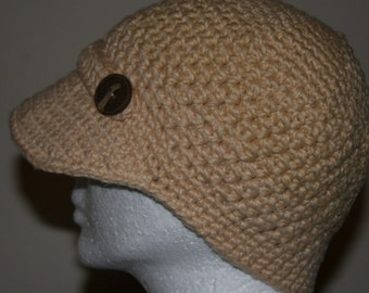 Crochet Newsboy Hat in Almond