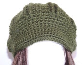 Crochet Newsboy Hat, Forest Green, Teen and Adult Woman, Knit, Modern, Celebrity