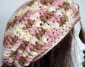 Crochet Slouchy Hat, Teens, and Women, Ice Cream, Neopolitan, Pink, Brown, White, Knit