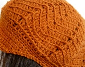 Crochet Newsboy Hat in Rust, Burnt Orange for Teens and Women, Zig Zag Design