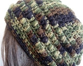 Crochet Slouchy Beanie in Camo for Women and Teens