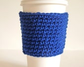 Crochet Coffee Cup Sleeve, Coffee Cozy, Tea Cozy in Blue