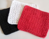 Crochet Set of Three 100% Cotton Dish Cloths, Wash Cloths in Red, White, and Black