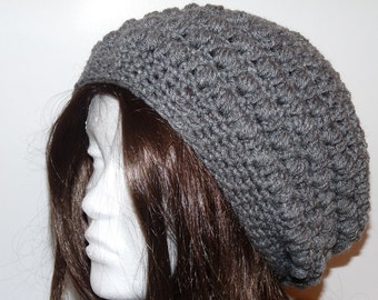 Crochet Grey Slouchy Hat, Beret, Tam, Women, Teen, Best Seller