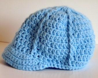 Crochet Baby Soft Blue Newsboy Hat, Baseball Cap, Newborn, Infant, Baby Boy