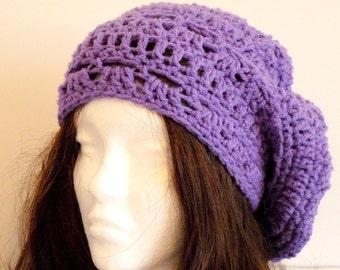 Crochet Rasta Hat, Purple, Lilac, Beanie, Slouchy Hat