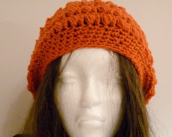 Crochet Slouchy Hat, Burnt Orange, Texas Longhorn, Women and Teen, Knit, Beret, Tam