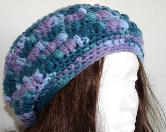Crochet Slouchy Hat, Blue, Teal, Green, Purple, Ocean, Beach, Knit