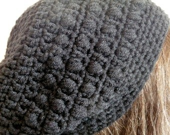 Crochet Slouchy Hat in Black, Sized for Teens and Adult Women