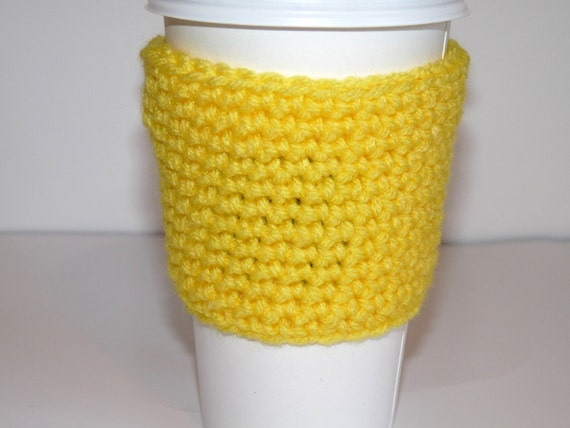 Crochet Coffee Cup Cozy, Tea Cozy, Yellow Sunshine Mug Cozy, Knit