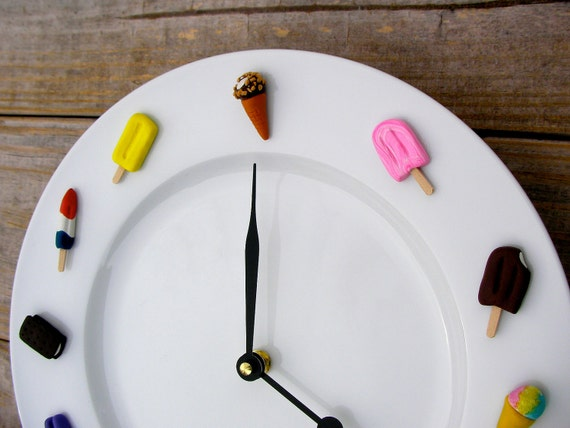 Ice Cream Clock- Kitchen Wall Clock- Unique Clock- Wall Clock