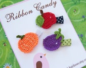 Farmers Market Clippie Collection - Set of three clips - Eggplant, Pumpkin, and Apple - non slip
