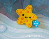 Starfish Felt Hair Clip - Under the Sea - Party Favor, Beach Accessory, Mermaid Party, Girls Hair Clip, non slip