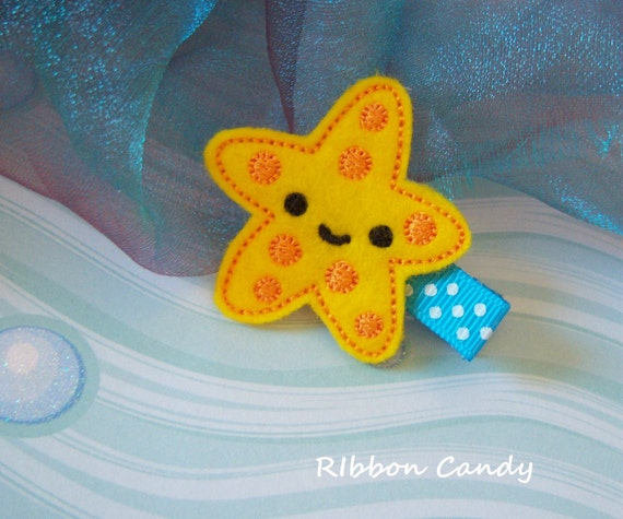 Starfish Felt Hair Clip - Under the Sea - Party Favor, Beach Accessory, Mermaid Party, Girls Hair Clip, non slip