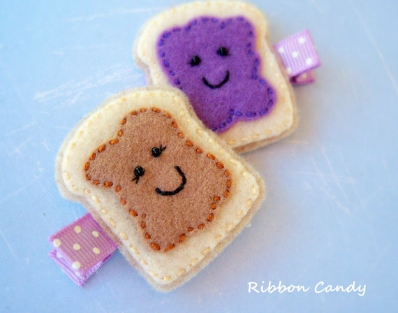 Peanut Butter and Jelly Felt Hair Clip Set - BFFs - Felt Toast - PBJ - non slip, PB&J