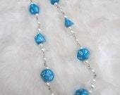 Blue D&D Full Set of Dice x Pearls Necklace