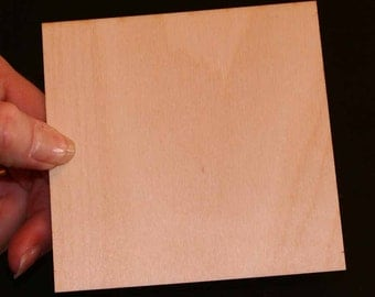 12 - Square - 4 x 4 x 1/8 inch unfinished wood (SQSQ12)