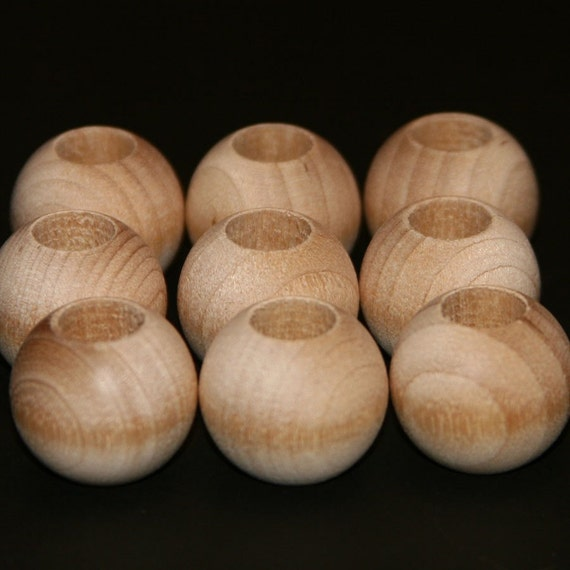 6 - Bead Round - 1-1/2 inch x 3/8 hole unfinished wood (WW-BE1150)