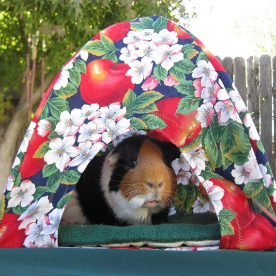 MINI CAMPING PET TENT guinea pig house barbie doll toy (APPLE BLOSSOM PRINT)