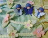 Spring Butterfly children -  Blue needle felted in wool - Waldorf party favor