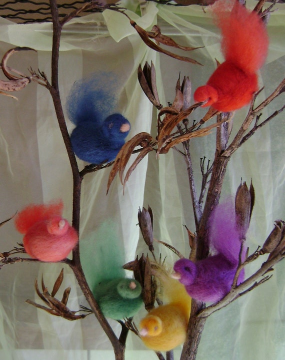 Softearth Rainbow birds - needle felted in pure wool