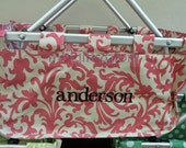 SALE   Embroidered Collapsible Pink Floral Market Tote Craft Tote  GO GREEN
