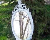 Mirror Oval White Mirror Vintage Inspired