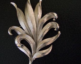 Silver Leaf Brooch Trifari Brushed Finish