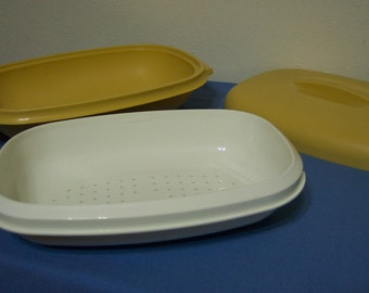 Tupperware Steamer 3 piece in Harvest Gold