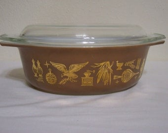 Vintage Pyrex Early American Casserole Covered Oval