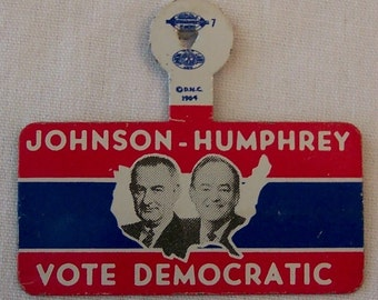 Political Pins 1964 Johnson and Humphrey Set of 2 Presidential Campaign Buttons