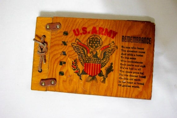 US Army Scrapbook Wood Covers Remembrance Snapshots Picture Album